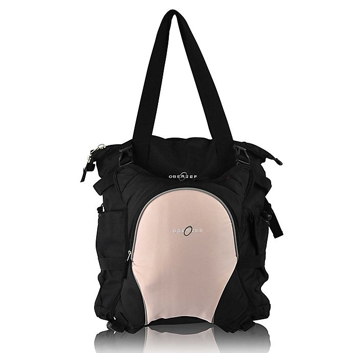 Alternate image 1 for Obersee Innsbruck Diaper Bag Tote with Detachable Cooler in Black/Bubble Gum