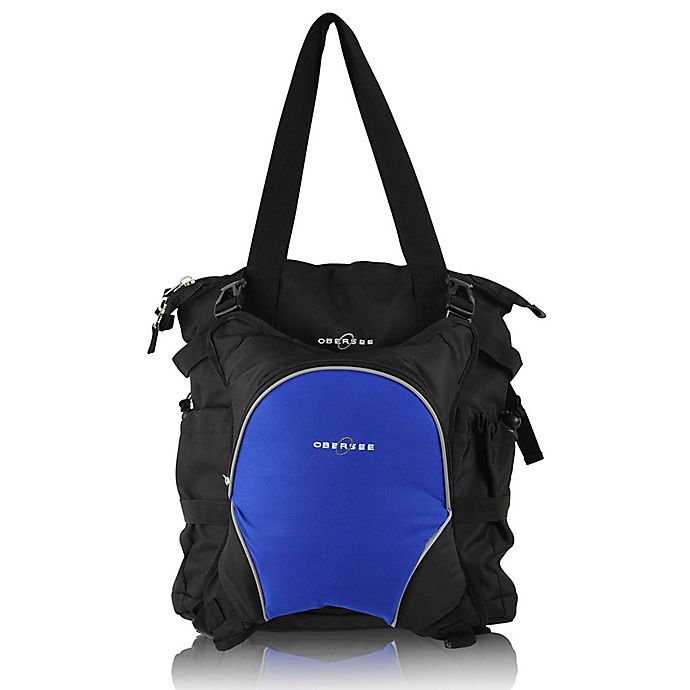 Alternate image 1 for Obersee Innsbruck Diaper Bag Tote with Detachable Cooler in Black/Royal Blue