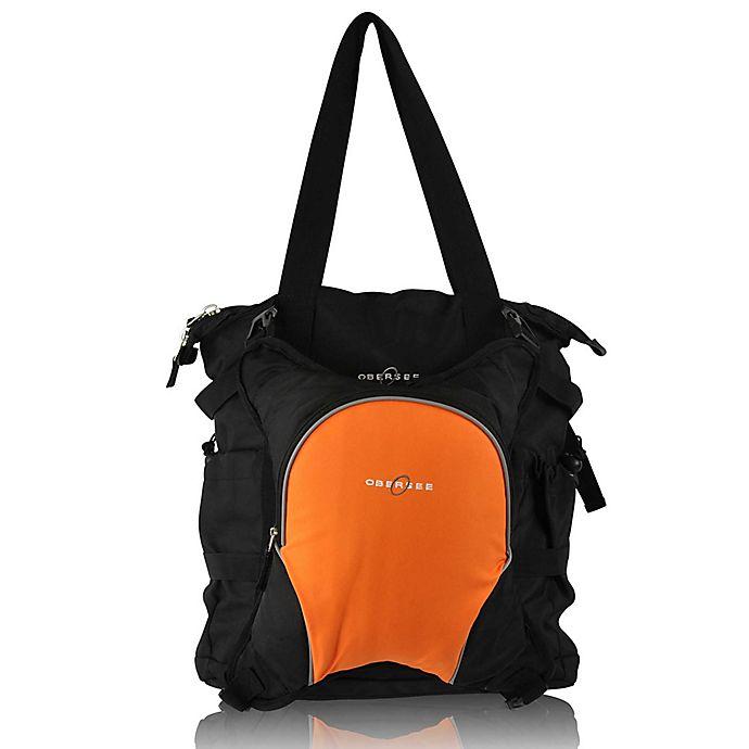 Alternate image 1 for Obersee Innsbruck Diaper Bag Tote with Detachable Cooler in Black/Orange