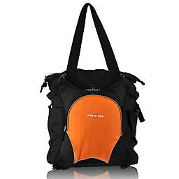 Obersee Innsbruck Diaper Bag Tote with Detachable Cooler in Black/Orange