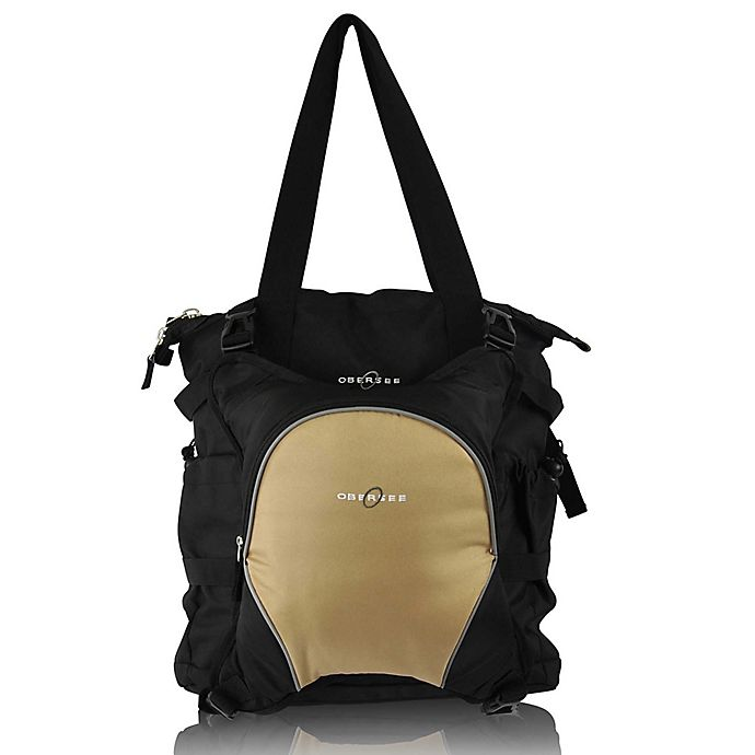 Alternate image 1 for Obersee Innsbruck Diaper Bag Tote with Detachable Cooler in Black/Sand