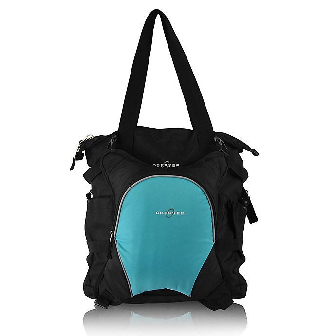 Alternate image 1 for Obersee Innsbruck Diaper Bag Tote with Detachable Cooler in Black/Turquoise