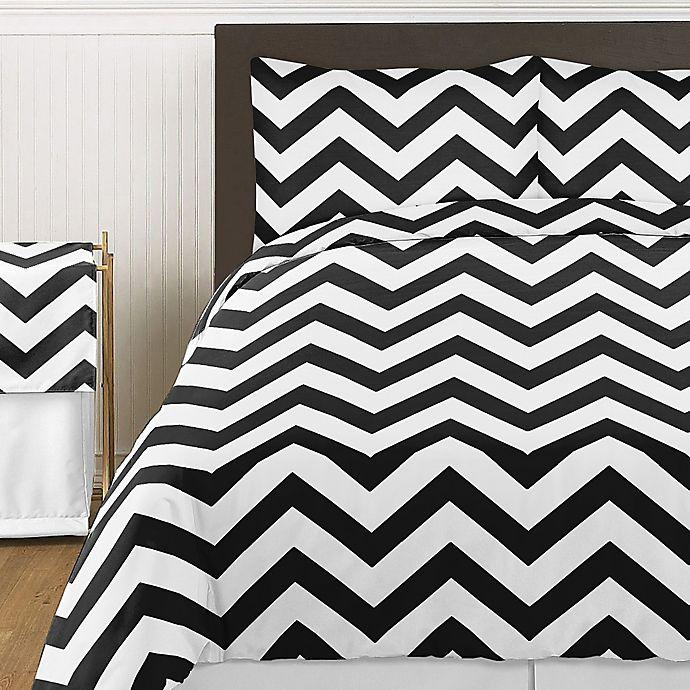 Alternate image 1 for Sweet Jojo Designs Chevron 4-Piece Twin Comforter Set in Black and White