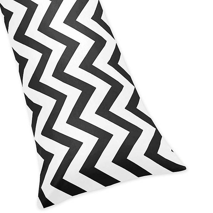 Alternate image 1 for Sweet Jojo Designs Chevron Body Pillowcase in Black and White