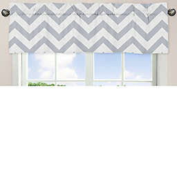 Sweet Jojo Designs Chevron Window Valance in Grey/White