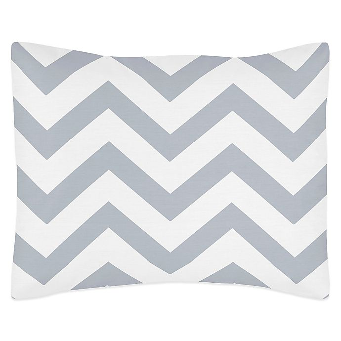 Alternate image 1 for Sweet Jojo Designs Chevron Pillow Sham in Grey and White