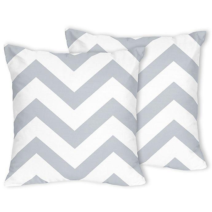 Alternate image 1 for Sweet Jojo Designs Chevron Throw Pillows in Grey/White (Set of 2)