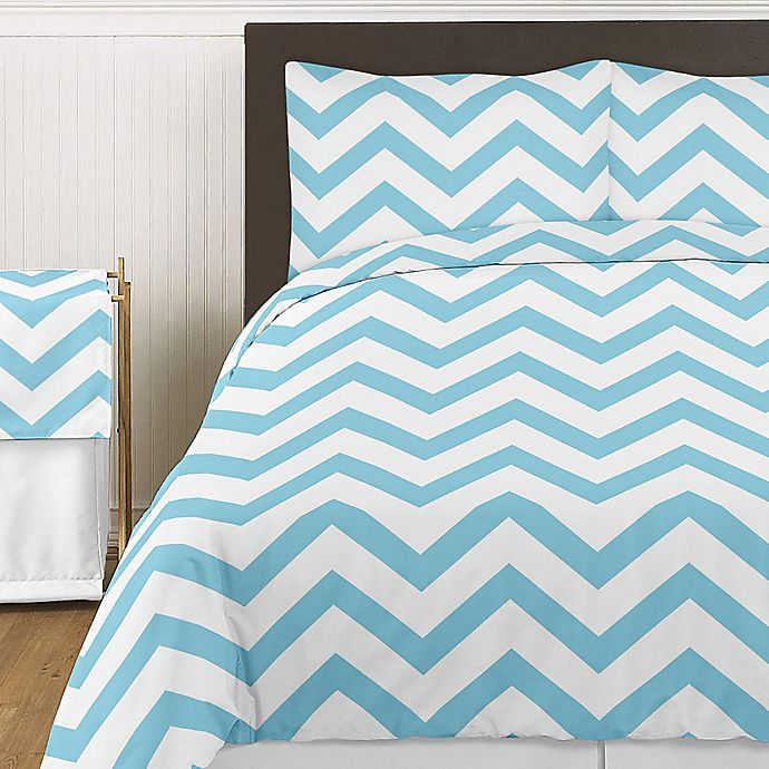 Alternate image 1 for Sweet Jojo Designs Chevron 3-Piece Queen Comforter Set in Turquoise and White