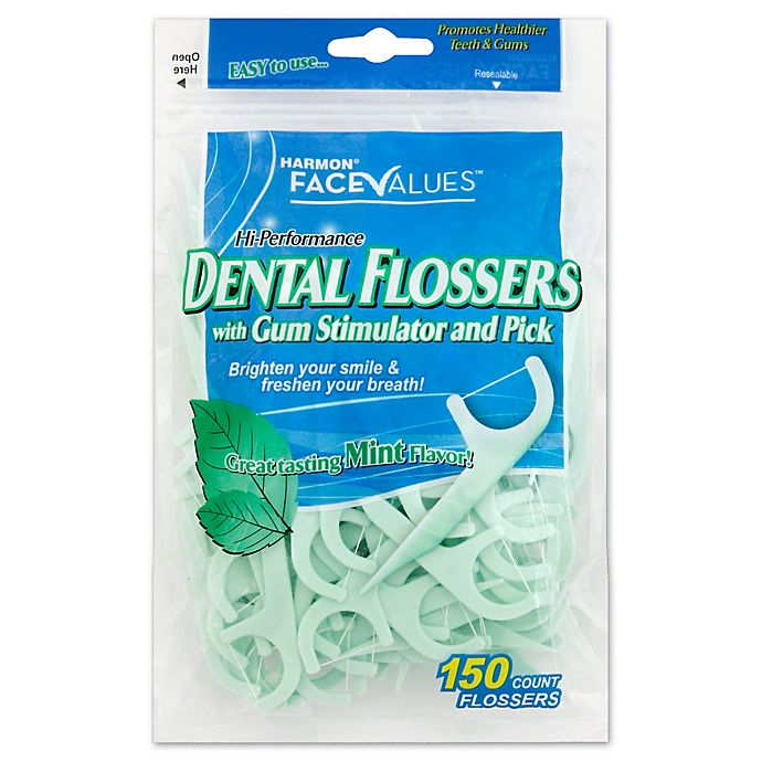 Alternate image 1 for Harmon® Face Value™150-Count Hi Performance Dental Flossers Gum Stimulator and Pick in Mint