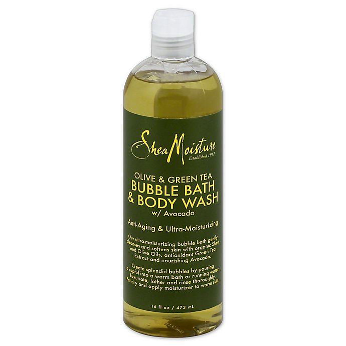 Alternate image 1 for SheaMoisture® 16 fl. oz. Bubble Bath and Body Wash in Olive/Green Tea