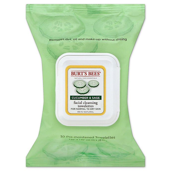 Alternate image 1 for Burt's Bees® 30-Count Facial Cleansing Towelettes in Cucumber and Sage