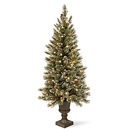 National Tree Company 4-Foot Pre-Lit Glittery Bristle Entrance Tree w/ Soft White LED Lights
