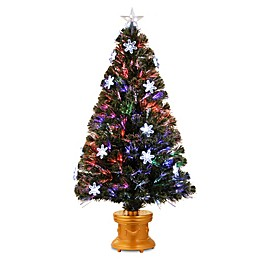 National Tree 4-Foot Fiber Optic Fireworks Snowflakes Christmas Tree