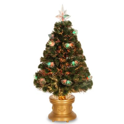 National Tree 3 Foot Fiber Optic Double Bell Christmas