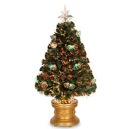 National Tree 3-Foot Fiber Optic Double Bell Christmas Tree