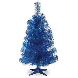 National Tree 3-Foot Tinsel Christmas Tree in Blue