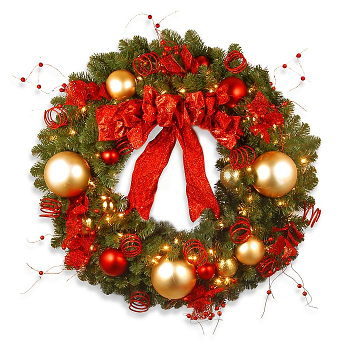 Alternate image 1 for National Tree Company 3-Foot Decorative Cozy Pre-Lit Christmas Wreath with Red and Clear Lights