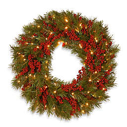 National Tree Company Decorative Collection Battery-Operated 24-Inch Valley Pine Christmas Wreath