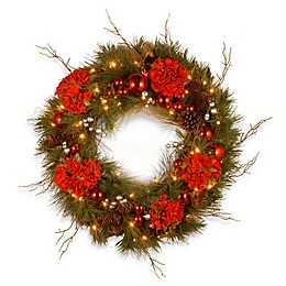 National Tree Company Decorative Collection 24-Inch Pre-Lit Hydrangea Wreath with Warm White Lights