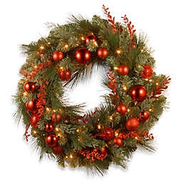 National Tree 24-Inch Decorative Pre-Lit Christmas Wreath with Warm White Lights