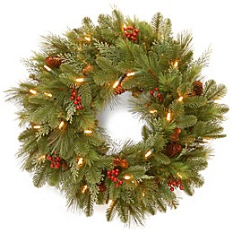 National Tree Company Battery-Operated 24-Inch Noelle Pre-Lit Christmas Wreath