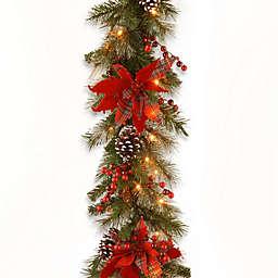 National Tree Company 9-Foot Tartan Plaid Pre-Lit Garland with Warm White LED Lights