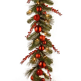 National Tree 9-Foot Decorative Collection Pre-Lit Mixed Christmas Garland with White LED Lights