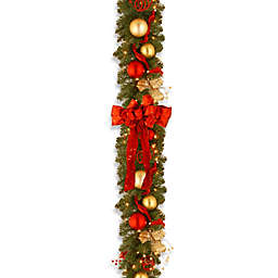 National Tree Company 9-Foot Decorative Cozy Pre-Lit Christmas Garland with Red and White Lights