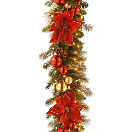 National Tree 9-Foot Home for the Holidays Pre-Lit Christmas Garland Pre-Strung with Clear Lights