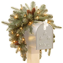 National Tree 3-Foot Feel-Real® Frosted Arctic Spruce Pre-Lit Christmas Mailbox Swag