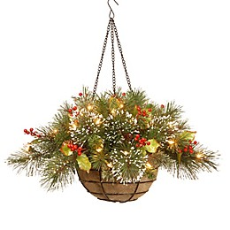 National Tree 20-Inch Wintry Pine Hanging Basket Pre-Lit with 35 Lights