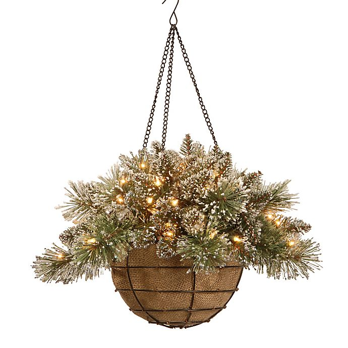 Alternate image 1 for National Tree Company 20-Inch Pre-Lit Glittery Bristle Pine Hanging Basket w/ Warm White LEDs