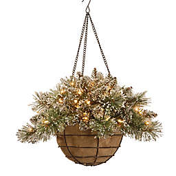 National Tree Company 20-Inch Pre-Lit Glittery Bristle Pine Hanging Basket w/ Warm White LEDs