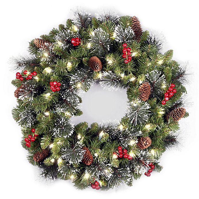 Alternate image 1 for National Tree Company 24-Inch Crestwood Spruce Pre-Lit Christmas Wreath with Warm LED Lights