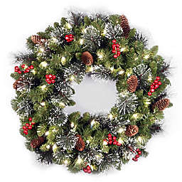 national tree company 24 inch crestwood spruce pre lit christmas wreath with warm led - Solar Powered Christmas Wreath