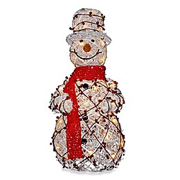 National Tree 27-Inch Pre-Lit White Rattan Snowman Holding Gift and Broom