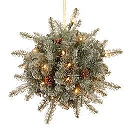 National Tree 12-Inch Feel-Real® Frosted Arctic Christmas Spruce Kissing Ball