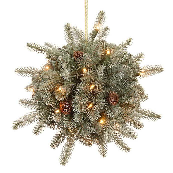 Alternate image 1 for National Tree 12-Inch Feel-Real® Frosted Arctic Christmas Spruce Kissing Ball