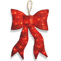 National Tree 24-Inch Lighted Red Wavy Sisal Bow