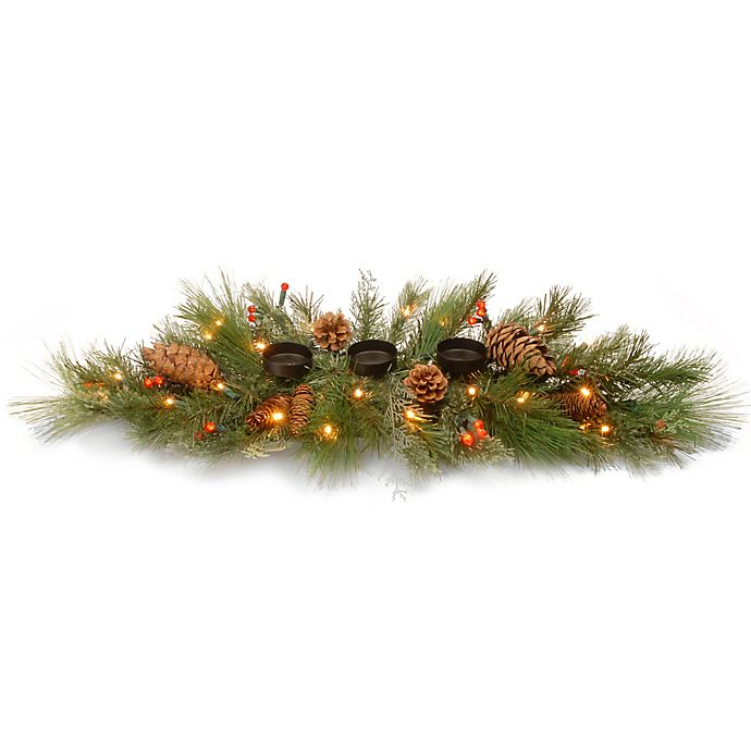 Alternate image 1 for National Tree Company 30-Inch White Pine Pre-Lit Candle Holder Centerpiece with LED Lights