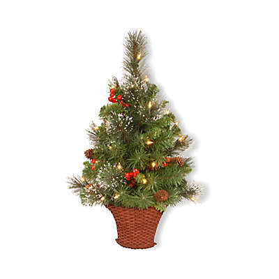 National Tree Company 3-Foot Crestwood Spruce Pre-Lit Half Christmas Tree with Clear Lights