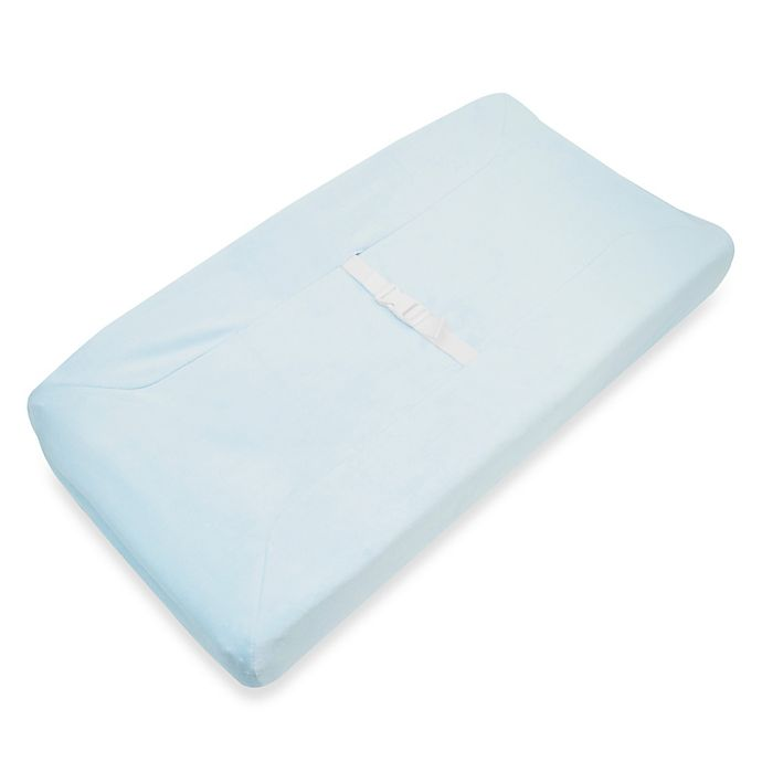 Alternate image 1 for TL Care® Mix & Match Heavenly Soft Chenille Contoured Changing Pad Cover in Blue
