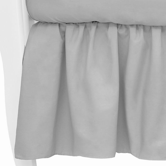 Alternate image 1 for TL Care® Mix & Match Cotton Percale Crib Skirt in Grey