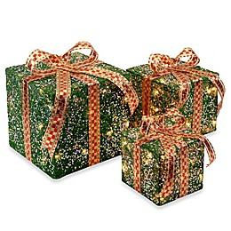 National Tree Company Sisal Pre-Lit Gift Boxes in Green (Set of 3)
