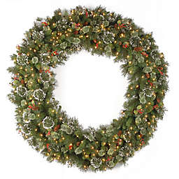 National Tree Company 5-Foot Wintry Pine Christmas Wreath with Clear Lights