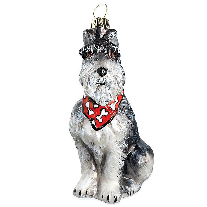 Alternate image 1 for Pet Set Joy to the World Collectibles Grey Schnauzer with Bandana Christmas Ornament