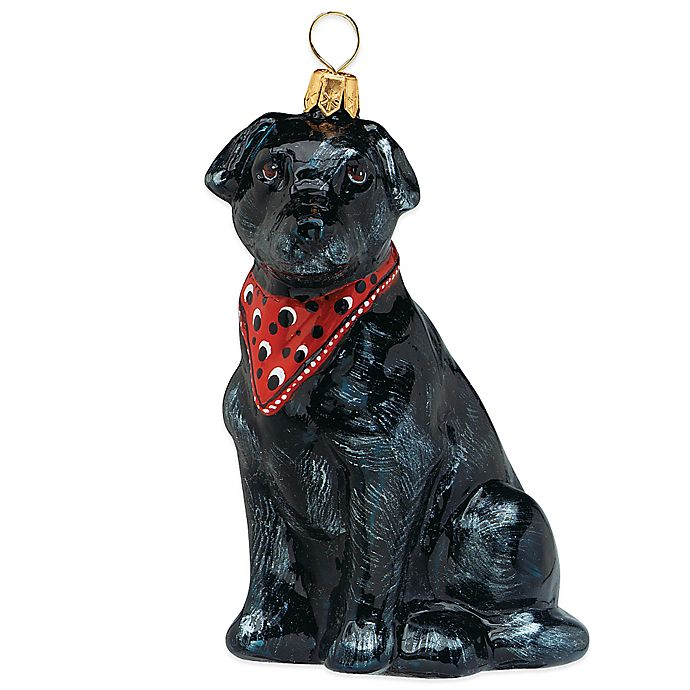 Alternate image 1 for Pet Set Joy the World Collectibles Black Labrador Retriever with Bandana Christmas Ornament