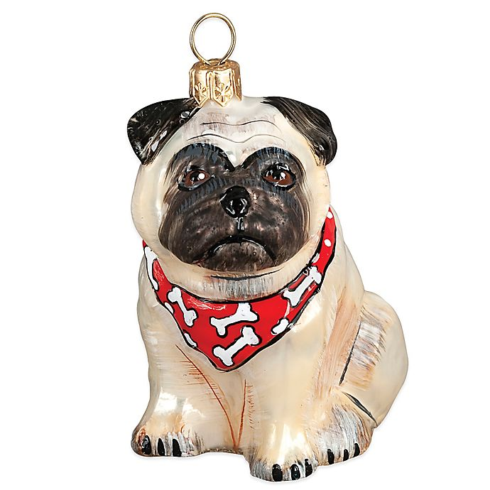 Alternate image 1 for Pet Set Joy the World Collectibles Fawn Pug with Bandana Christmas Ornament