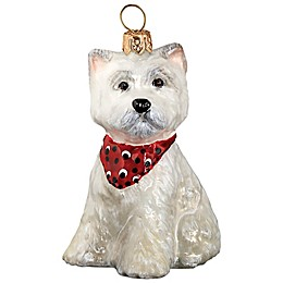 Pet Set Joy to the World Collectibles Westie Puppy with Bandana Christmas Ornament