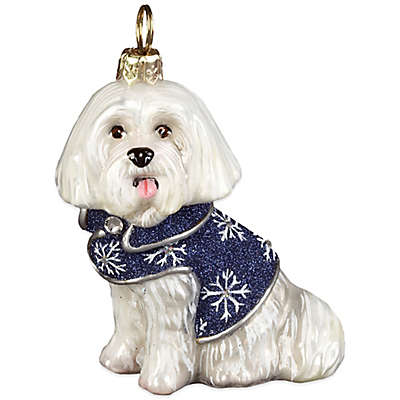 Diva Dog Joy to the World Collectibles Maltese in Blue Snowflake Coat Christmas Ornament